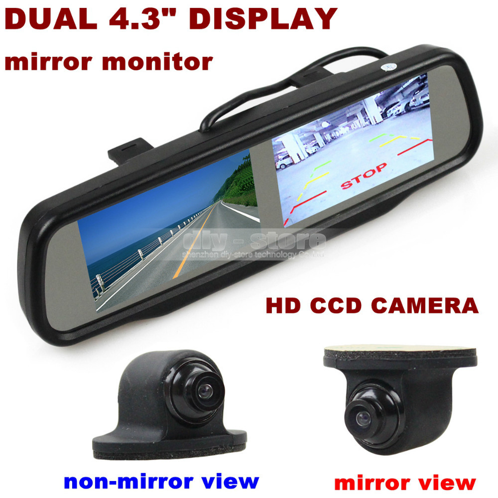 wholesale dual screen 4 3 inch tft lcd rearview car mirror monitor ccd car rear. Black Bedroom Furniture Sets. Home Design Ideas