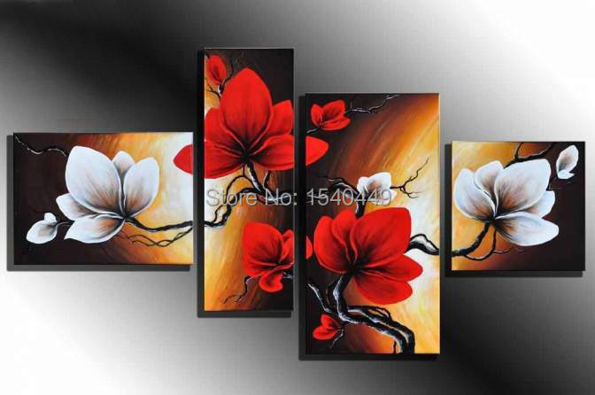 100% Hand Painted Modern White Red Flowers Oil Paintings 4