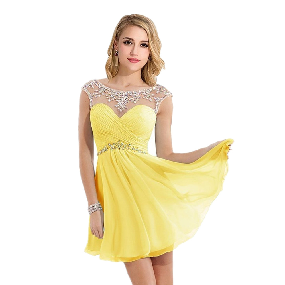 Simple Elegant Tulle A Line Scoop Neck Cap Sleeves Lace: Yellow Homecoming Dress Promotion-Shop For Promotional