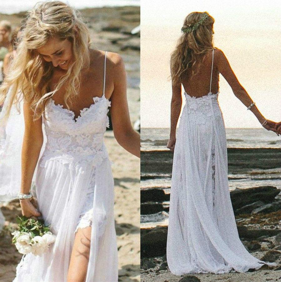 Beach Spaghetti Strap Wedding Gown: Sexy Spaghetti Straps Lace Beach Wedding Dresses 2015