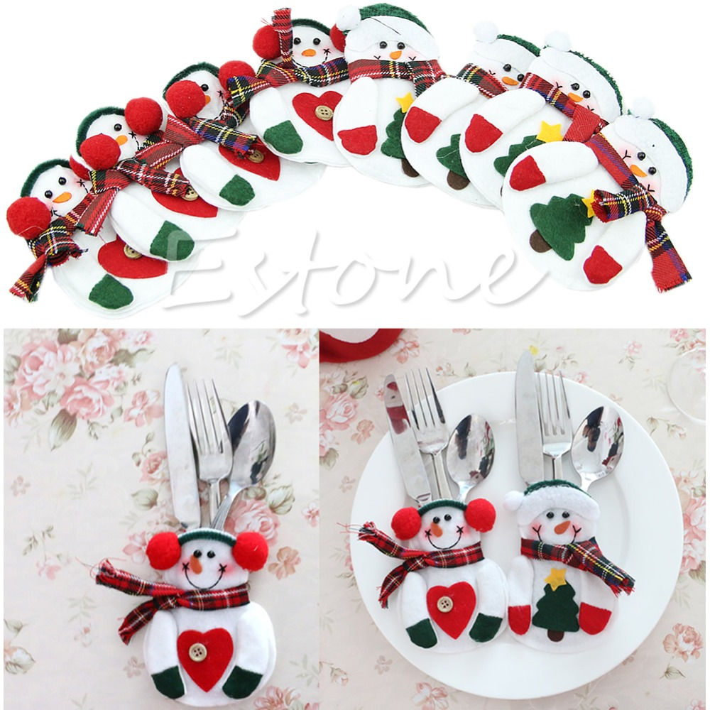 8Pcs Holiday Party Christmas Home Decor Santa Snowman Silverware Holder Pocket