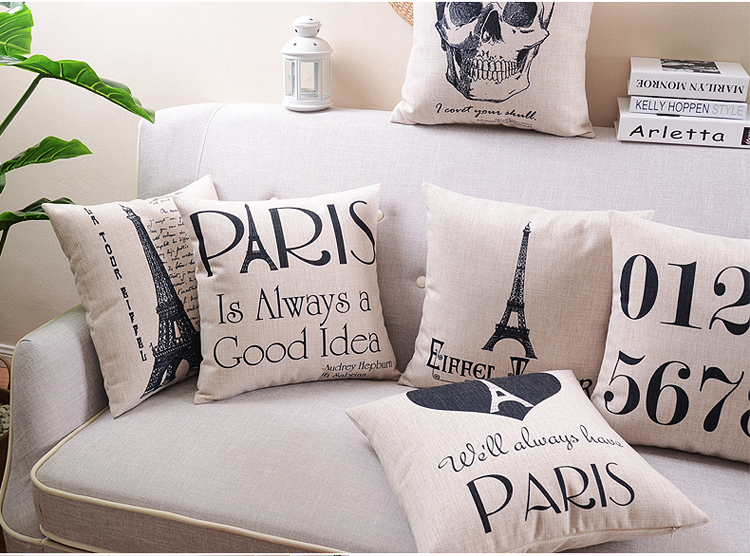 Parisian Vintage Cushion Cover Scandinavian Simplicity Cushions Home Decor Black And   White Art Pillow Cover Free Shipping