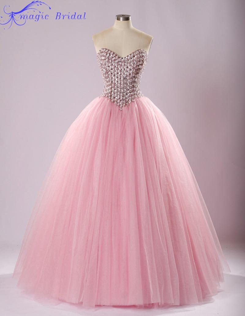 Neon pink prom dress