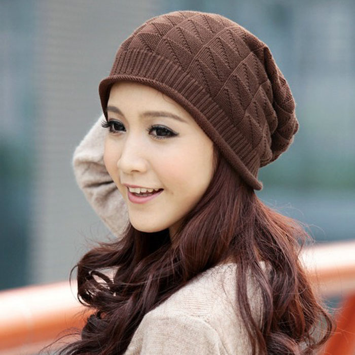 e5c6cad7d Fashion Women Lady Girls Triangle Diamond Warm Knitted Wool Hats Cap Casual  Women Beanies Hip-hop Skullies Cap Hat Female #OR