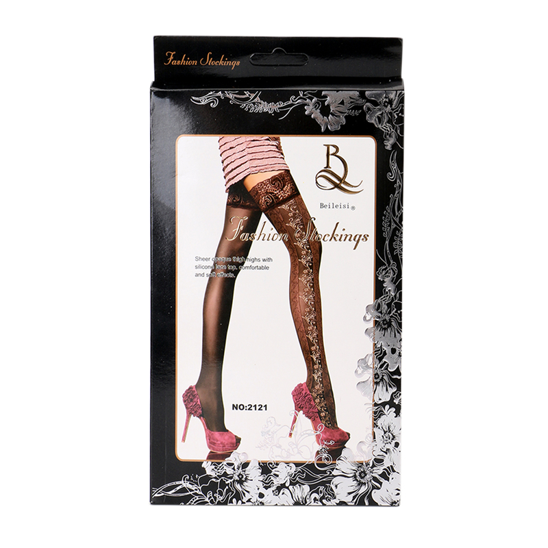 54f1aa45ae9ac 2019 Sexy Women Thigh High Sheer Opaque Stockings With Silicone Band ...