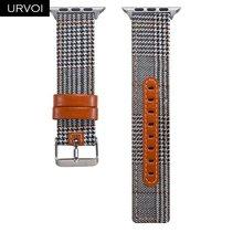 URVOI полотно холста для Apple Watch series 5 4 3 2 1 наручный джинсовый ремешок для iwatch рисунок гусиная лапка классический дизайн кожаный чехол(Китай)