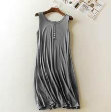 Женская ночная рубашка без рукавов, сексуальная ночная рубашка из модала и хлопка, летняя одежда(Китай)