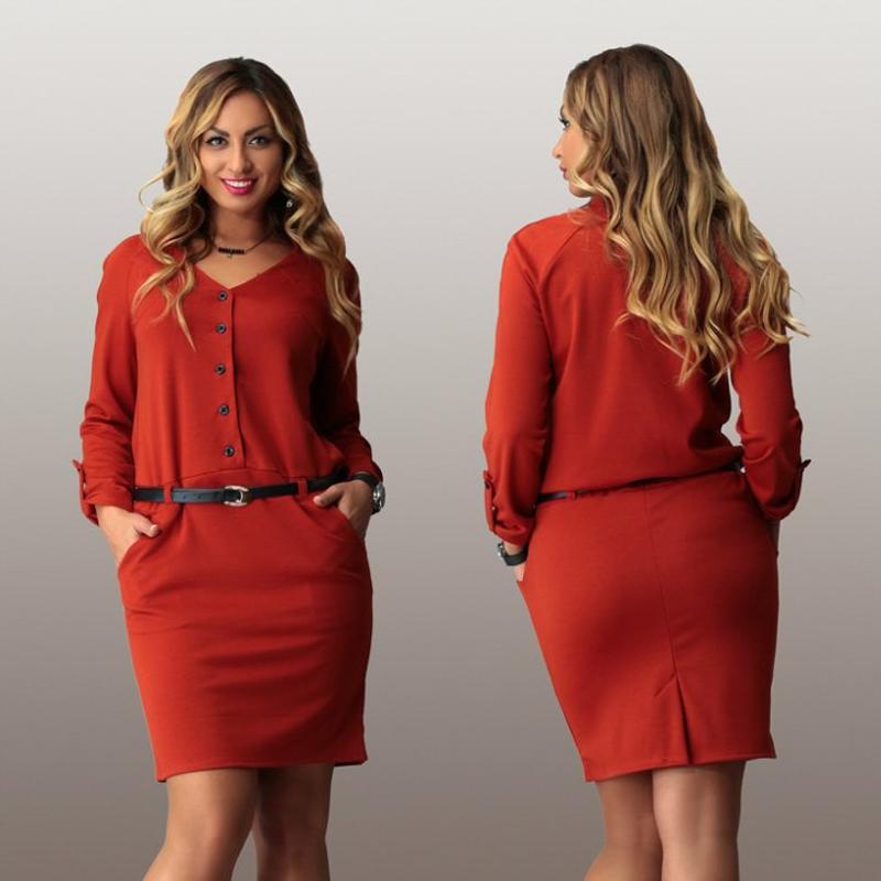 Women plus size office dress 2015 casual autumn winter solid mini Dress  fashionable women loose dresses ... 12cffda45