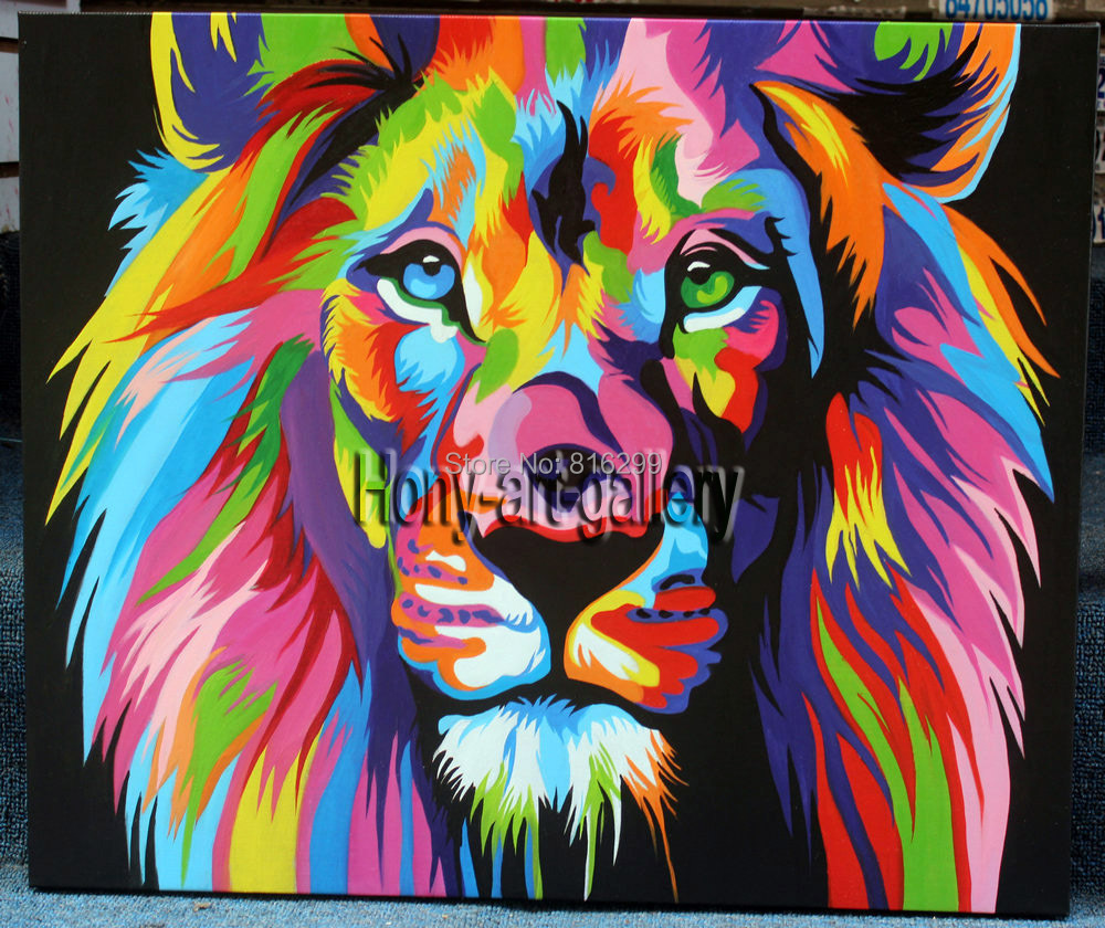 Colorful lion painting - photo#44