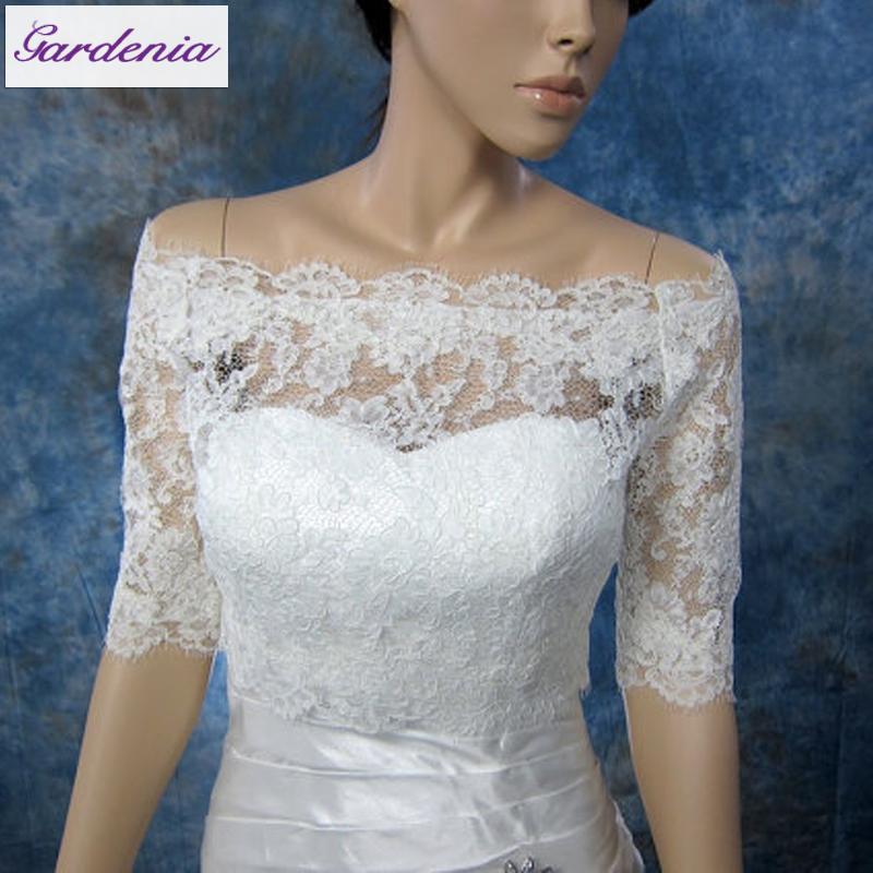 Wedding Gown Wraps: Factory Wholesale Half Sleeve Lace Wedding Bolero Jacket