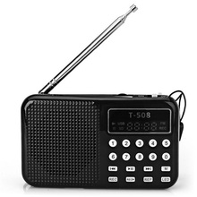 Hot Sell Mini FM Radio Speaker Portable Rechargeable Digital LED Flashlight Display Stereo Micro USB TF/SD Card MP3 Music Player