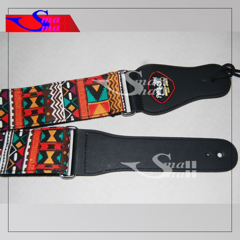 new twill africa style colorful acoustic guitar strap bass banjo adjustable genuine leather end. Black Bedroom Furniture Sets. Home Design Ideas