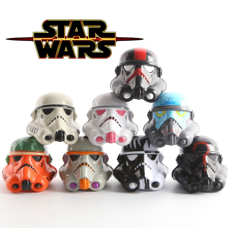 8pcs Star Wars Darth Vador helmet toy set 2016 New Mini Q version  boba fett Darth Vader Storm Trooper mask toys home decoration