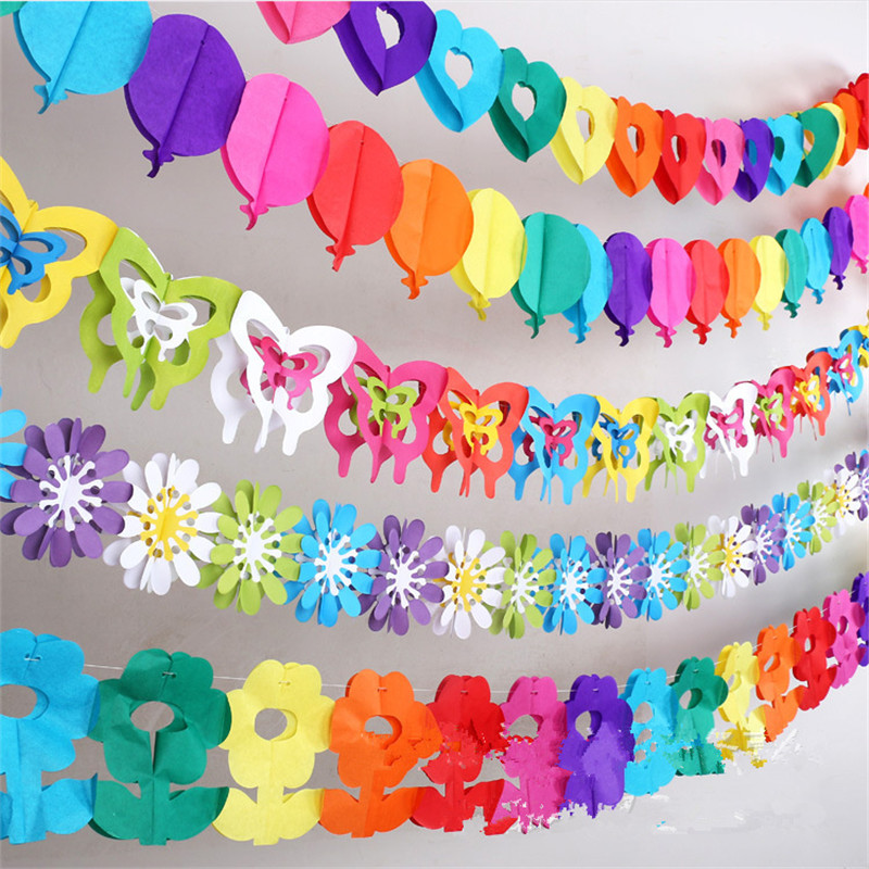 Birthday Decoration At Home For Kids: Colorful Baby Shower Paper Flowers Event Party Supplies