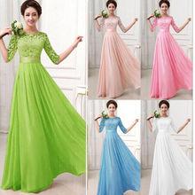 New Women Half Sleeve Lace Chiffon Princess A Line Dress Candy Colour Elegant Dresses Maxi Long Dress Vestidos