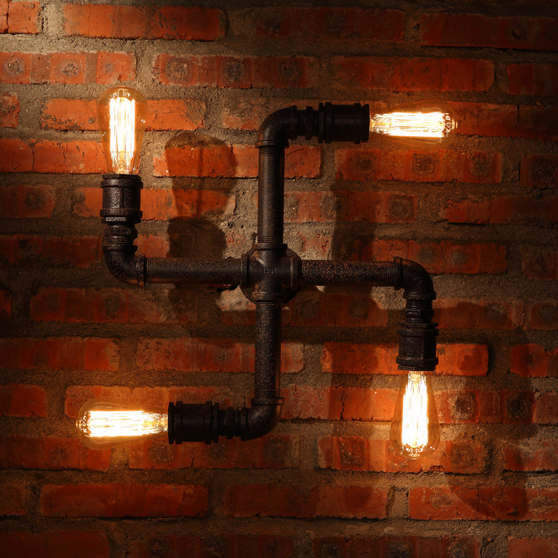 Loft Personalized Water Pipe Wall Lamps Vintage <font><b>Home</b></font> <font><b>Decoration</b></font> Lighting Antique Wall Light 110V/220V With Edison Bulbs