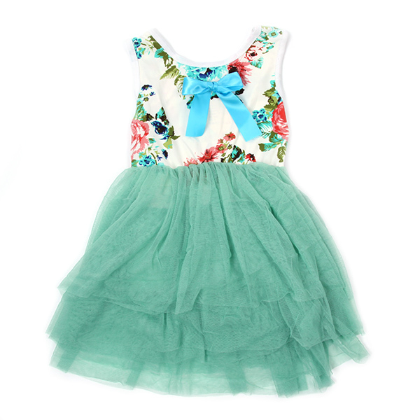Sweet Child Toddler Csual Bowknot Sleeveless font b Dress b font Kids Girl Layered Floral Crew