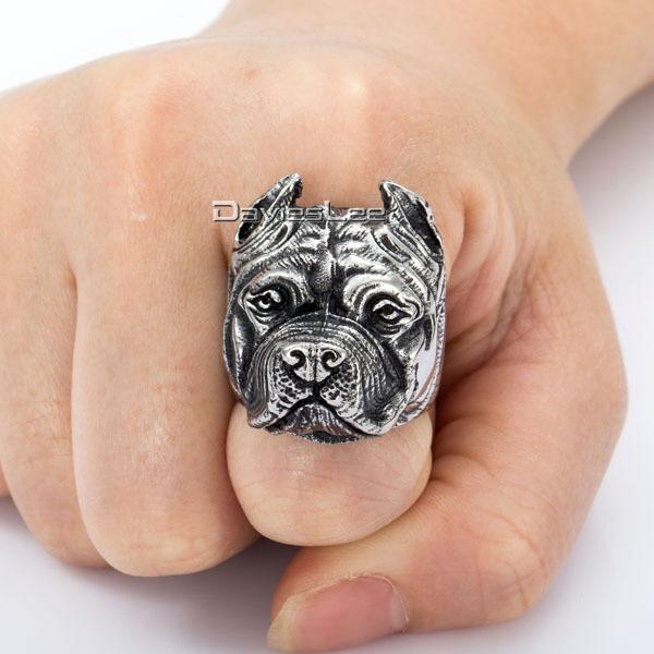 Mens Boys Ring Punk Pitbull Bulldog Animal Silver Tone