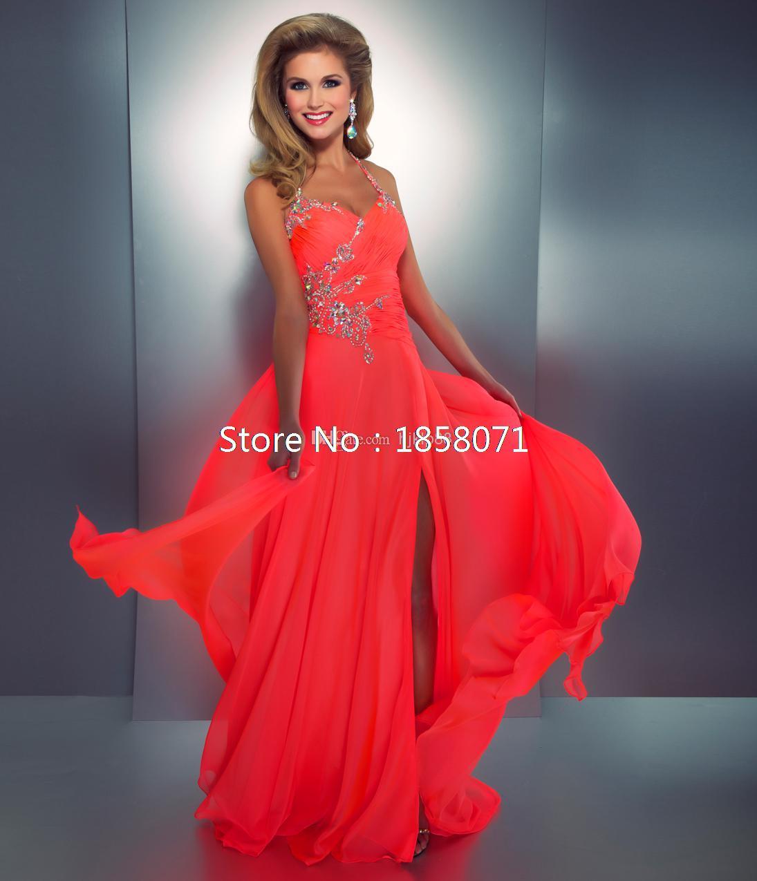 2015-Coral-Colored-Prom-Dresses-Embellished-Halter-Slit