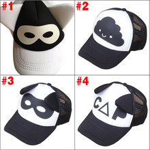 New Unisex Boys Girls Black and White Letters Printed Ears Decoration Mesh Hat Cap Baseball Cap