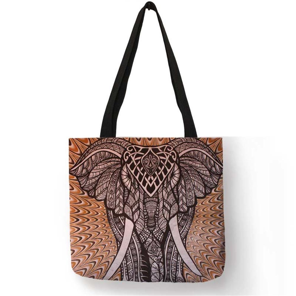 Индивидуальная Льняная сумка-тоут с принтом слона мандалы для женщин, модные многоразовые сумки для покупок, дорожные школьные сумки через ...(Китай)