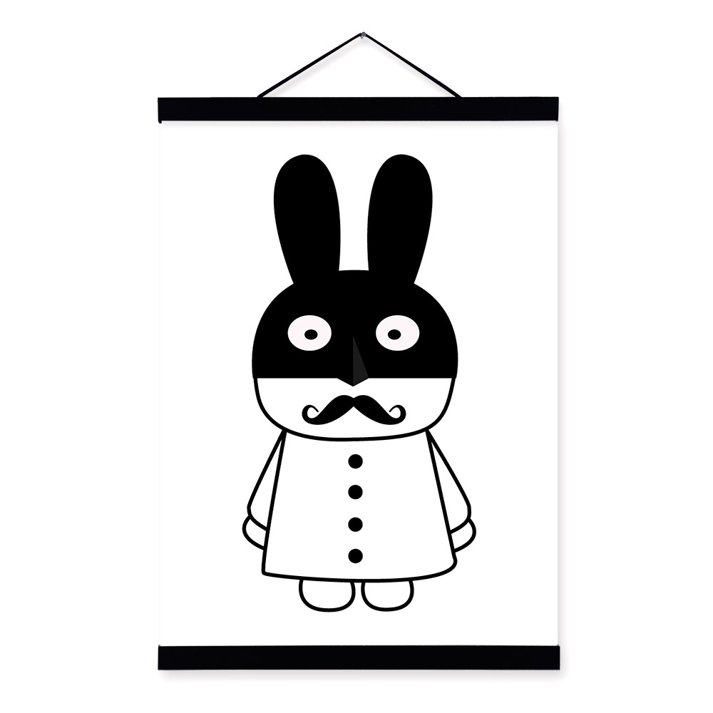 12 Minimalist Black White Nordic Gentleman Rabbit Animal Wooden Framed Canvas Painting Wall Art Prints Picture Poster Home Decor
