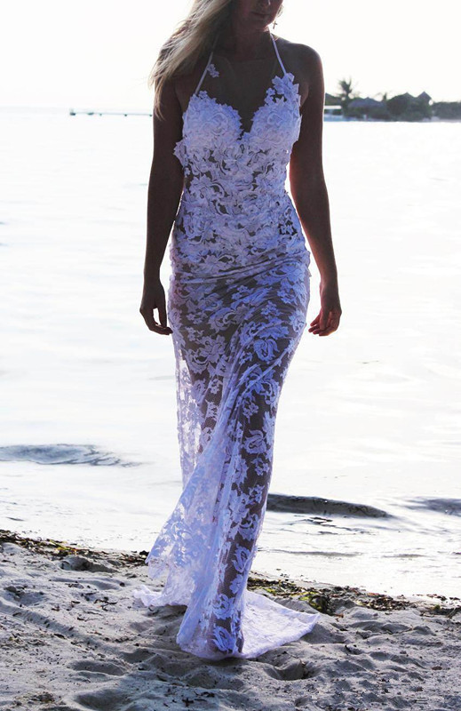 2015 Sexy Design Halter Neck Backless White Lace Beach ...Backless Halter Wedding Dresses