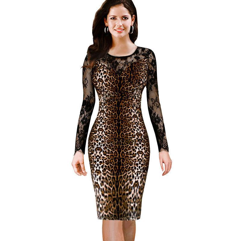 Elegant Vintage Women 2015 Leopard Long Sleeve Wiggle