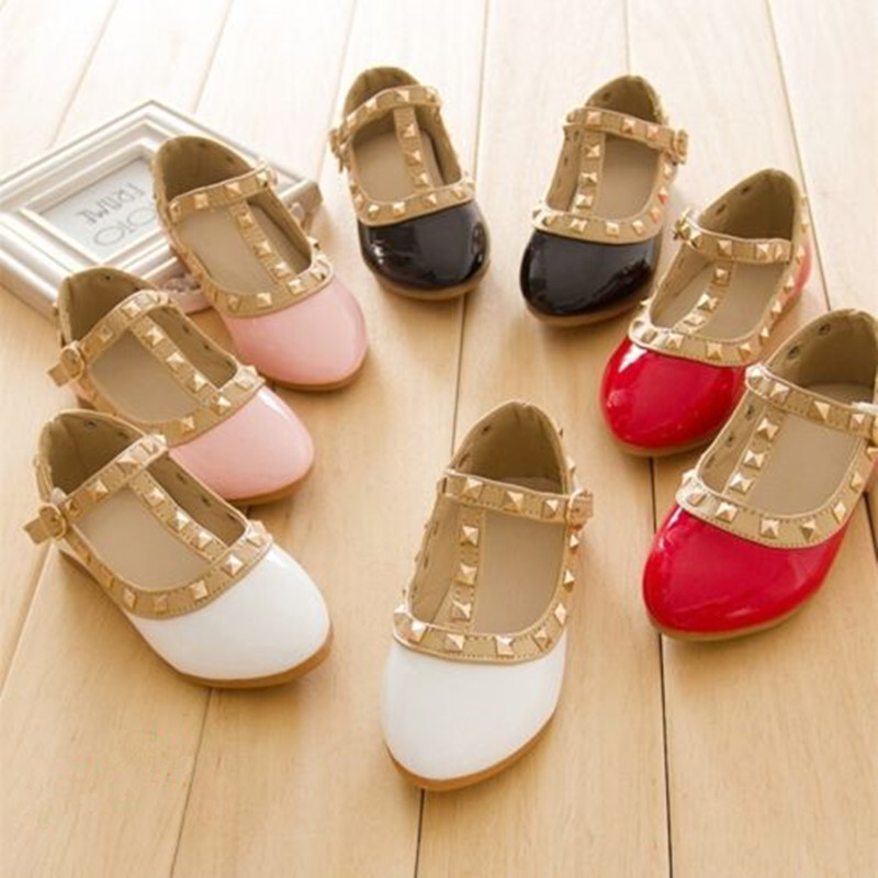 2016 New Baby Shoes Leather Fall Toddler Girls Boots Princess Girls Kids Sandals New Rivet Buckle