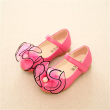 Fall 2015 Lace Bows Children Shoes Kids Shoes Girls Pink Red Sky Blue Size 26 30