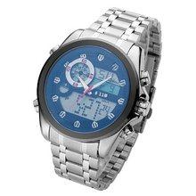 6,11 Роскошные Брендовые мужские новые модные ослепленные стеклянные часы, военные часы, аналоговые цифровые часы, полностью стальные светод...(Китай)