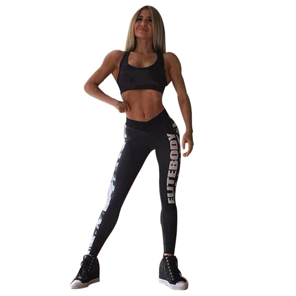 da99f59c906f Impresión Carta Fitness Ropa Negro Ropa Deportiva Para Mujeres Gimnasio  Algodón Pantalones de Yoga legging femme sporttijia5%