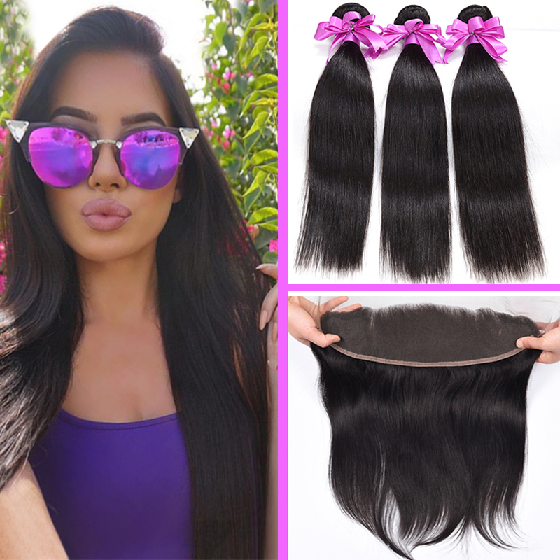 Brazilian Virgin Hair Straight 3Bundles With Ear to Ear Lace Frontal Closure 7A Brazilian Straight Hair