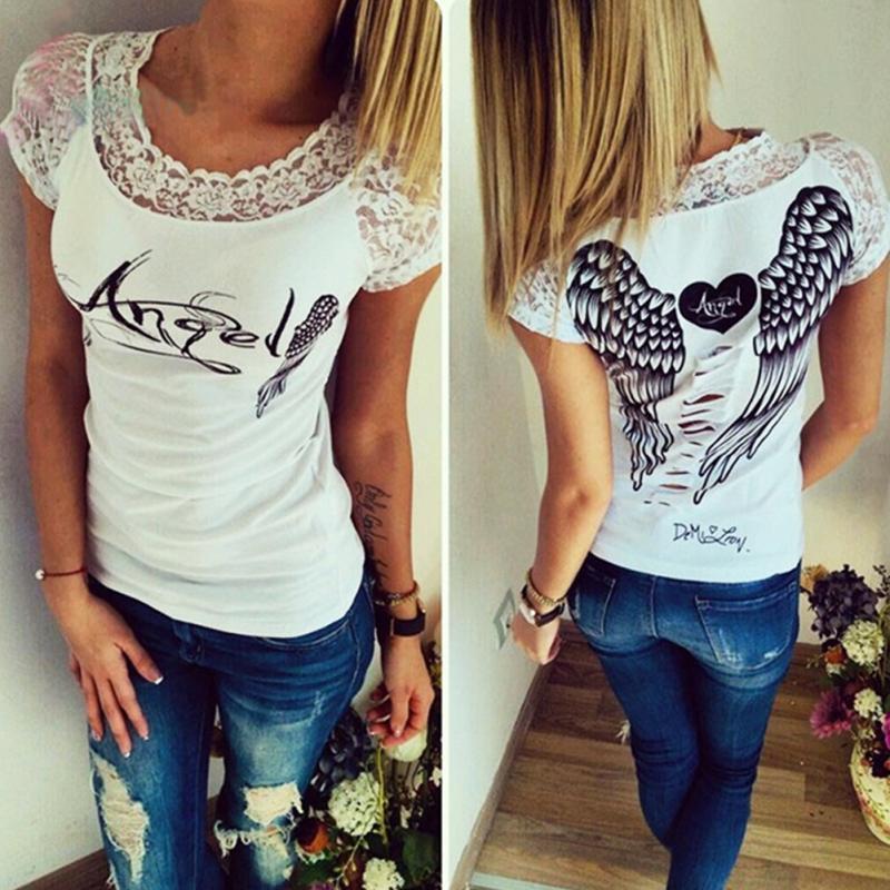 de079312a6e2b S-XXL Summer Fashion Women's T shirt Back Hollow Angel Wings T-shirt Tops  Woman Casual Lace Short Sleeve Tops T shirts Clothing