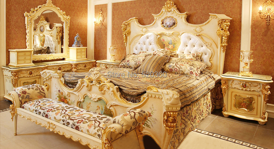 Luxury European Style Woodcarving Bedroom Set Dresser Set