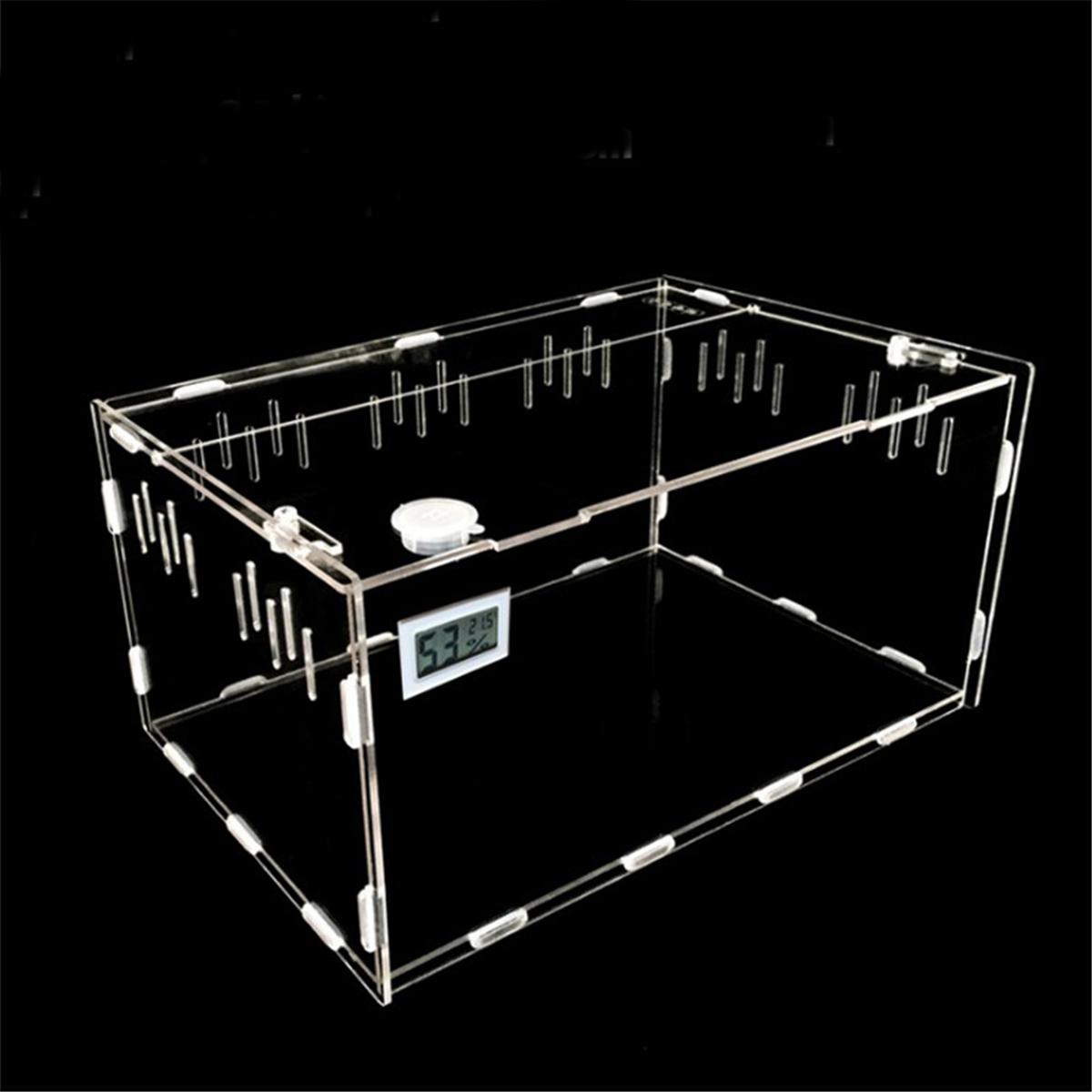 Бак для рептилий насекомые пауки Черепаха Ящерица акриловая прозрачная коробка для разведения Vivarium крышка рептилия ПЭТ продукт Террариум S...(Китай)