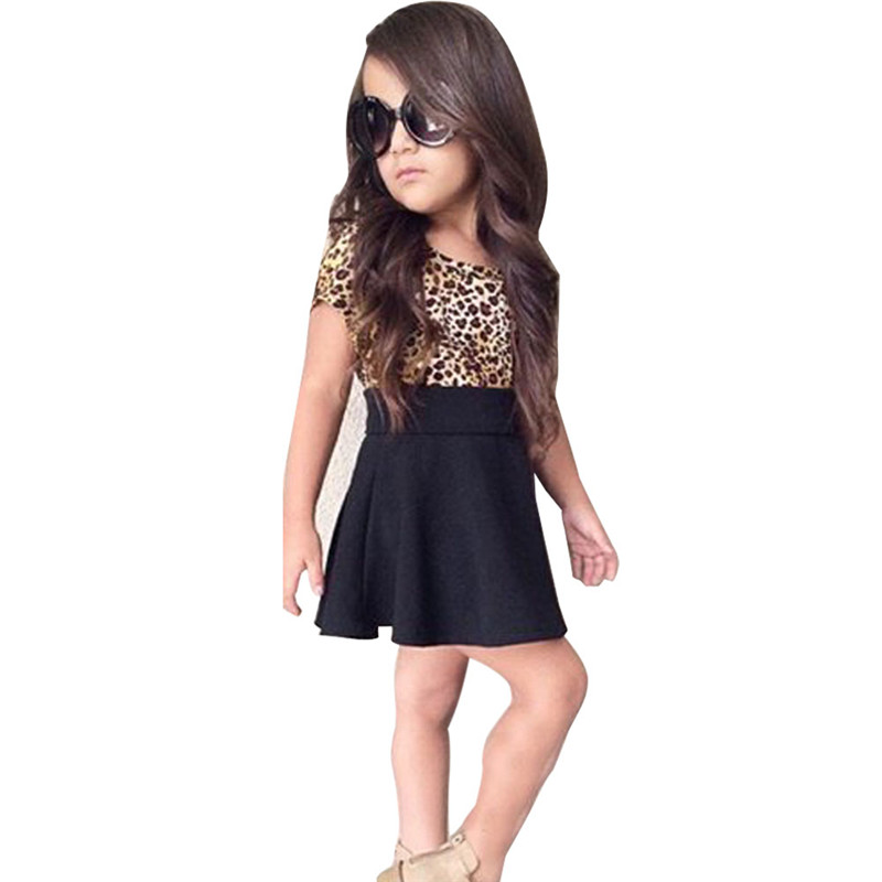 New Leopard Girl Dress Fashion Short Sleeve Summer Style Girls Clothes