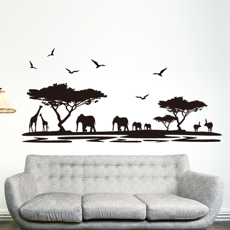 2016 Free Shipping Fashion Black <font><b>African</b></font> Stickers for Wall <font><b>Decoration</b></font> Sticker Wallpaper Creative Backdrop Diy <font><b>Home</b></font> Wallstickers