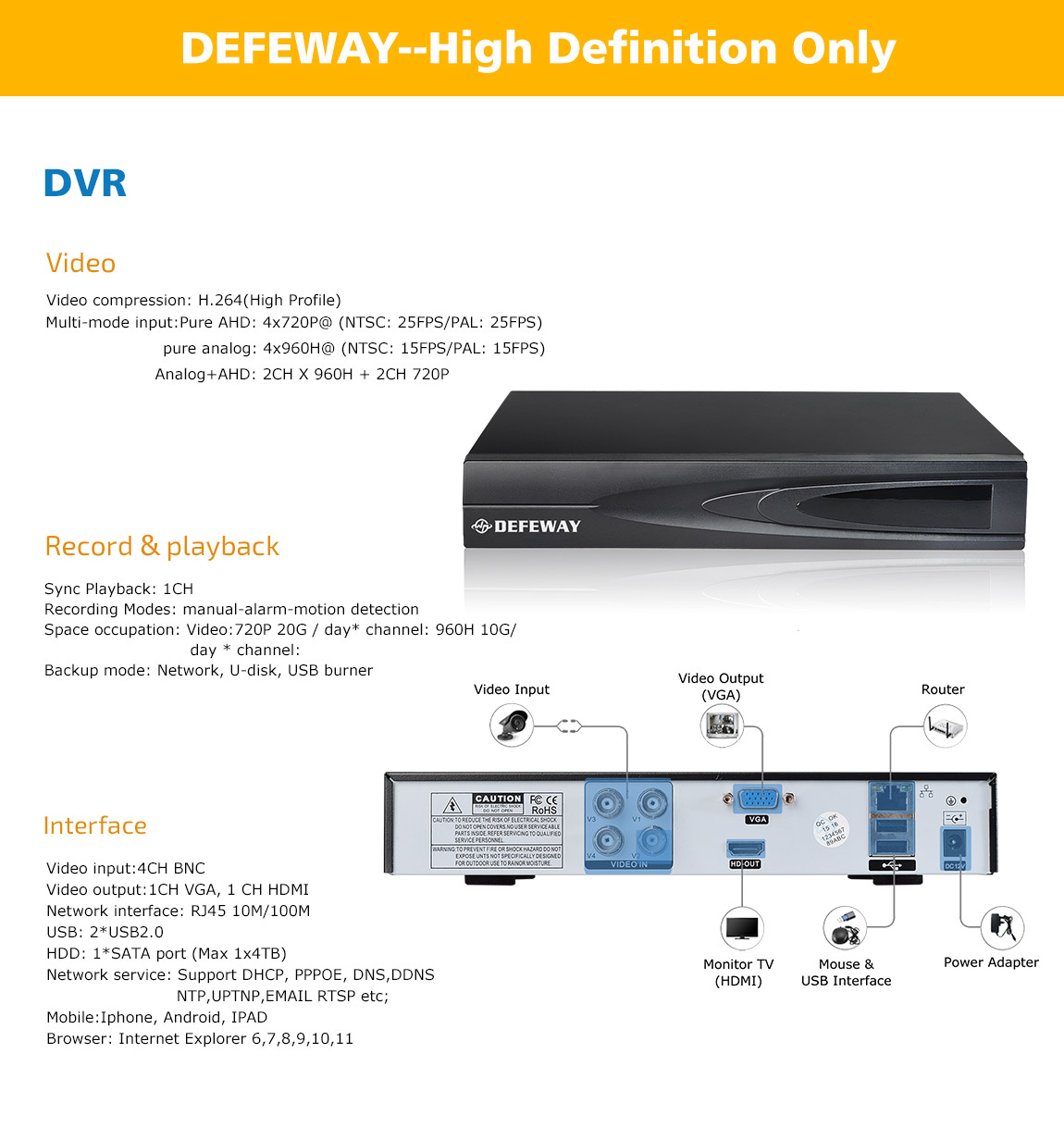 HD 1080P 8ch מצלמות במעגל סגור, מערכת NVR עבור מצלמת IP 8 ערוצים מלאה 960H מקליט וידאו עם 800TVL מערכת מעקב וידאו