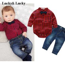 2016 new red plaid rompers shirts jeans baby boys clothes bebe clothing set