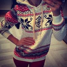 Free Shipping 2014 Women Hoody Christmas Sportwear Harajuku Snowflake Printed Sweatshirt Pullover Moleton Feminine