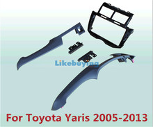 Black 2 Din Car Frame Dash Kit / Car Fascias / Mount Bracket Panel For Toyota Yaris 2005 2006 2007 2008 2009 2010 2011 2012 2013