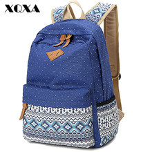 Ethnic Women Backpack for School Teenagers Girls Vintage Stylish Ladies Bag Backpack Female Blue Dotted Printing High Quality