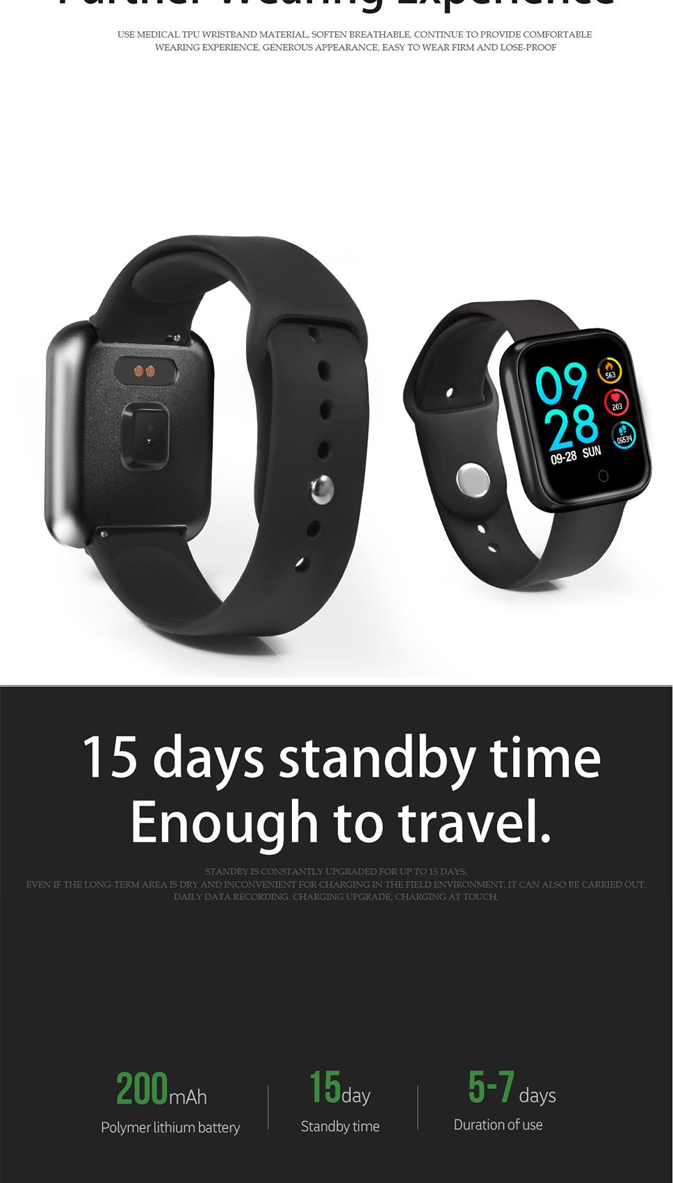 P70 Smart Watch Waterproof Blood Pressure Heart Rate Monitor Sleep Tracker  Health
