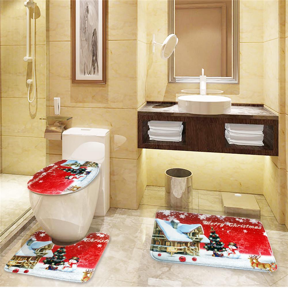 Flannel 3 Piece Christmas Red Santa Bathroom Pedestal Rug