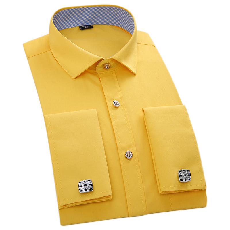 Compra mens camisa de vestir de amarillo online al por