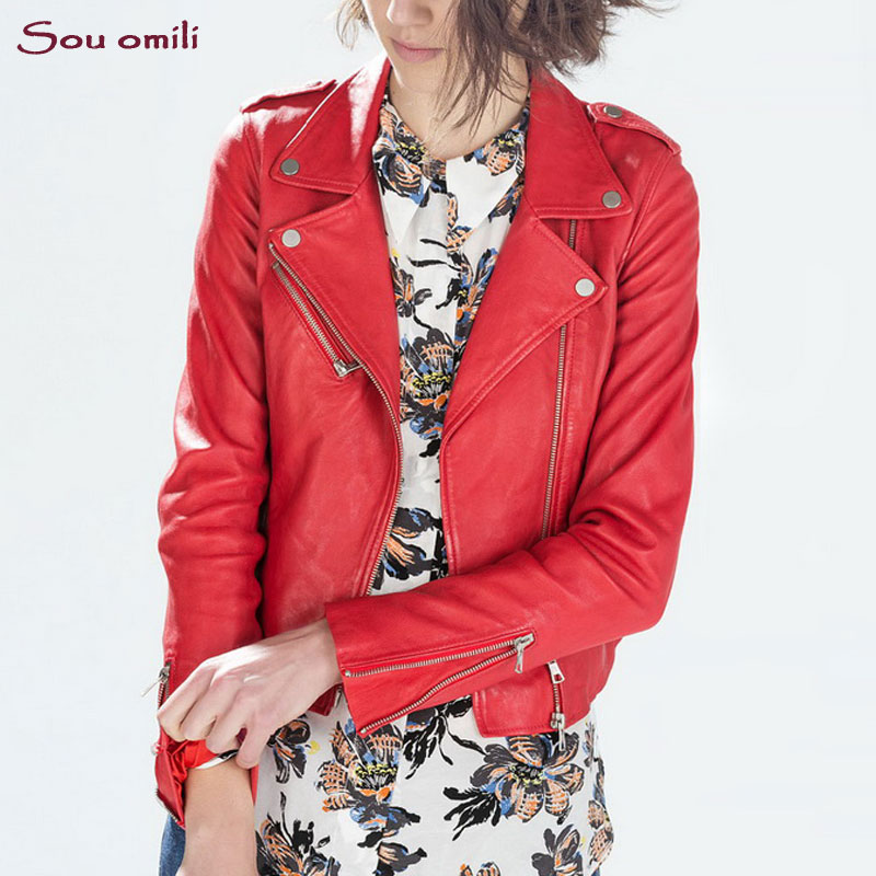 2019 Wholesale 2017 Fall RED Black Leather Jacket Women Faux Leather ... 60d817c2adf2