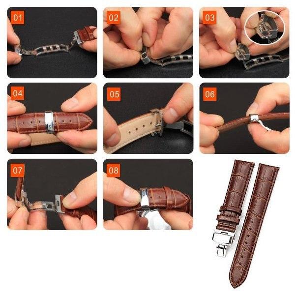 Прочный кожаный раскладывающаяся часы ремень пряжка браслет ремешки 14 мм - 24 мм
