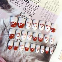 Накладные ногти 24 шт., искусственные накладные ногти, полное покрытие, короткий пресс на ногти, художественное полирование ногтей, Набор сти...(Китай)