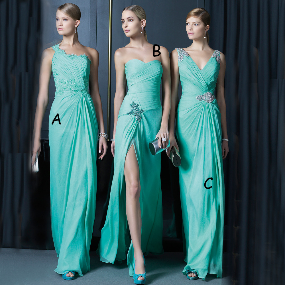 Three Style V Neck A Line Cheap Turquoise Mint Green ...